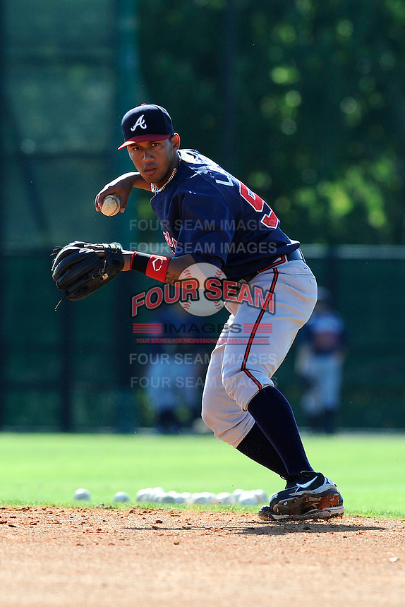 Infielder Emerson Landoni (58) of the Atlanta Braves farm system in a Minor League Spring Training workout on Tuesday, March 17, 2015, at the ESPN Wide World of Sports Complex in Lake Buena Vista, Florida. (Tom Priddy/Four Seam Images)
