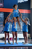 NWA Democrat Gazette/SPENCER TIREY  Heritage Game Day Cheer Team member, Lilli Martin is help down off the shoulders of team member Hannah Guthrie, by Bailey Turner, left, and Morgan Byrd, right, Thursday, July 13, 2017 at Heritage High School. The teams is doing a 3 day cheer camp put on by B2 Cheer and Dance out of Hot Springs.