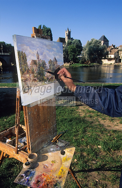 Europe/France/Ile-de-France/77/Seine-et-Marne/Moret-sur-Loing : Peintre sur les bords du Loing