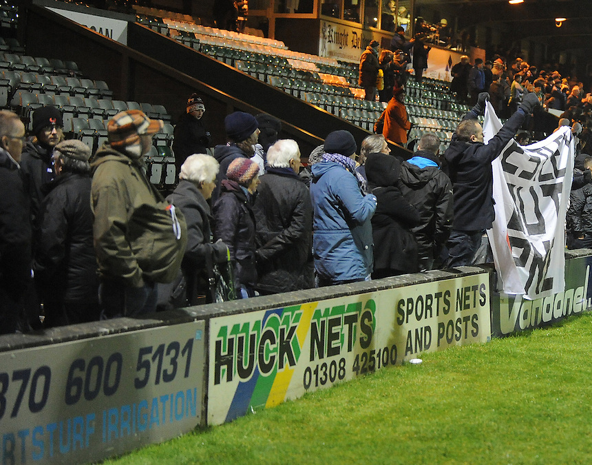 Preston North End fans protest at the end of the game ..Football - npower Football League Division One - Yeovil Town v Preston North End - Tuesday 12 th 2013 - Huish Park - Yeovil..© CameraSport - 43 Linden Ave. Countesthorpe. Leicester. England. LE8 5PG - Tel: +44 (0) 116 277 4147 - admin@camerasport.com - www.camerasport.com
