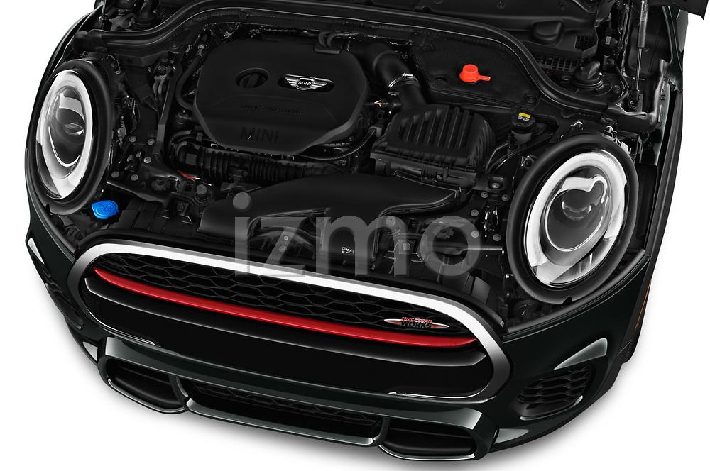 Car stock 2017 Mini Cooper John Cooper Works 2 Door Convertible engine high angle detail view