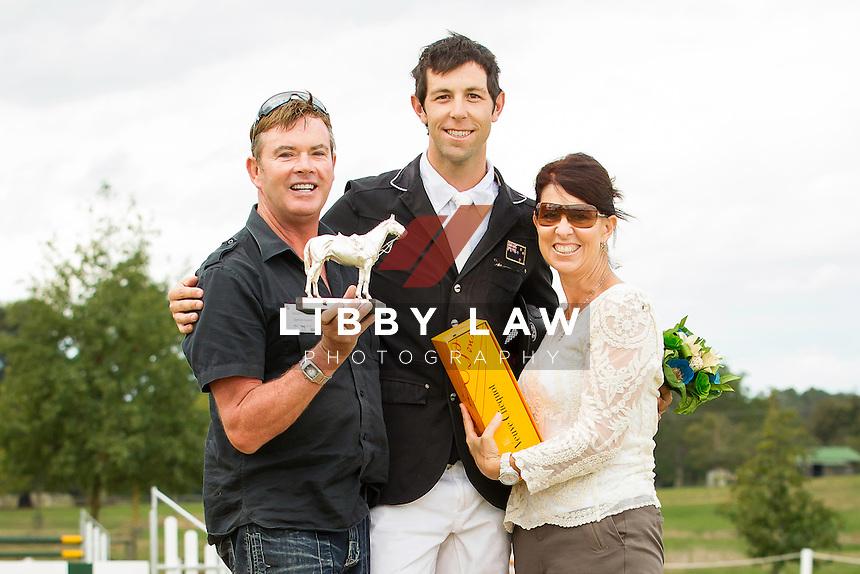 2014 CIC3* TITLE WINNER: NZL-Clarke Johnstone (BALMORAL SENSATION) with Vaughn Jefferis & longtime groom of BOUNCE: Jo Osbourne: FINAL-1ST: 2014 NZL-BNZ Kihikihi International Horse Trial (Sunday 13 April) CREDIT: Libby Law COPYRIGHT: LIBBY LAW PHOTOGRAPHY - NZL