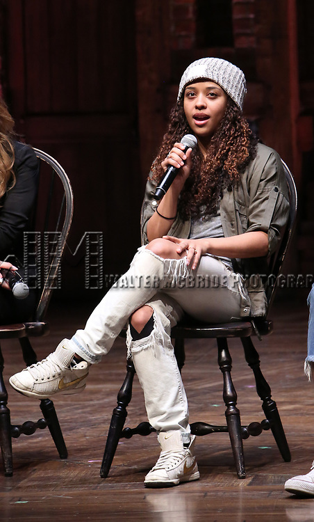 """Sasha Hollinger during the  #EduHam matinee performance Q & A for """"Hamilton"""" at the Richard Rodgers Theatre on 3/28/2018 in New York City."""