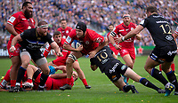 Toulouse Rugby's Francois Cros is tackled by Bath Rugby's Rhys Priestland<br /> <br /> Photographer Bob Bradford/CameraSport<br /> <br /> European Rugby Champions Cup - Bath Rugby v Toulouse - Saturday 13th October 2018 - The Recreation Ground - Bath<br /> <br /> World Copyright &copy; 2018 CameraSport. All rights reserved. 43 Linden Ave. Countesthorpe. Leicester. England. LE8 5PG - Tel: +44 (0) 116 277 4147 - admin@camerasport.com - www.camerasport.com