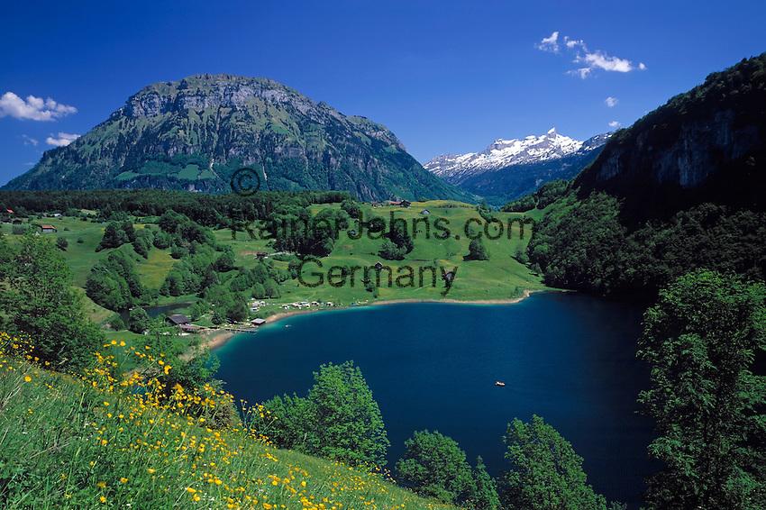 Switzerland, Canton Uri, Seelisberg: Seeli lake and snowcovered Kaiserstock mountain (2.515 m)