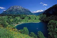 Switzerland, Canton Uri, Seelisberg: Seeli lake and snowcovered Kaiserstock mountain (2.515 m)