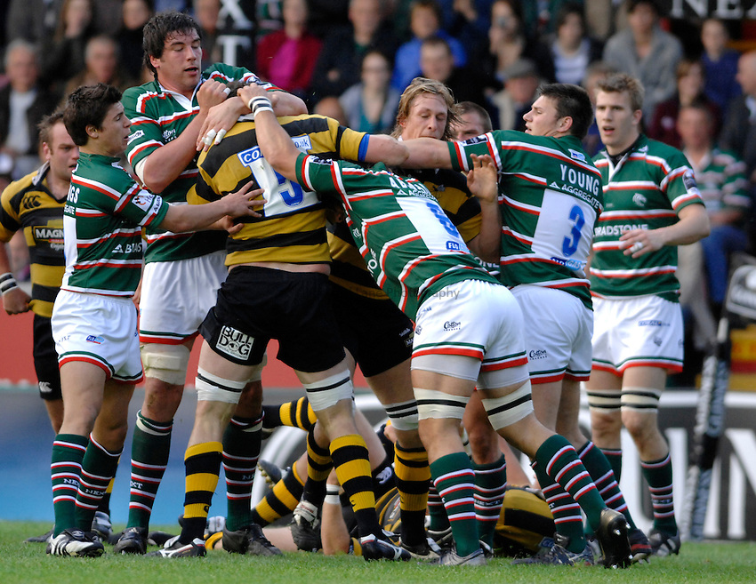 Photo: Richard Lane..Leicester Tigers A v London Wasps A. Guinness A League Final. 07/05/2007. .A fight breaks out.