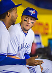 1 April 2016: Toronto Blue Jays infielder Troy Tulowitzki chats in the dugout prior to a pre-season exhibition game against the Boston Red Sox at Olympic Stadium in Montreal, Quebec, Canada. The Red Sox defeated the Blue Jays 4-2 in the first of two MLB weekend exhibition games, which saw an attendance of 52,682 at the former home on the Montreal Expos. Mandatory Credit: Ed Wolfstein Photo *** RAW (NEF) Image File Available ***