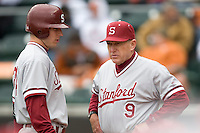 Coach Mark Marquess of the Stanford Cardinal against the Texas Longhorns at  UFCU Disch-Falk Field in Austin, Texas on Friday February 26th, 2100.  (Photo by Andrew Woolley / Four Seam Images)