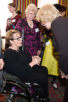 09 March 2016 - London, England - Camilla Duchess of Cornwall, President of WOW, speaks with with former Paralympian Tanni Grey-Thompson at a reception for the Women of the World Festival (WOW) at Clarence House, in central London. Photo Credit: Alpha Press/AdMedia