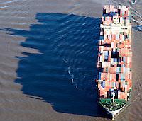 Deutschland, Hamburg, Containerschiff, Elbe, Schatten,