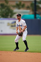 Biloxi Shuckers second baseman Bruce Caldwell (1) during a Southern League game against the Montgomery Biscuits on May 8, 2019 at MGM Park in Biloxi, Mississippi.  Biloxi defeated Montgomery 4-2.  (Mike Janes/Four Seam Images)