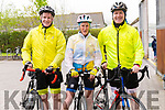 Donal Spillane, Claire Hayden and James Spillane at the start of the Dingle Peninsula Cycling Challenge on Saturday morning.