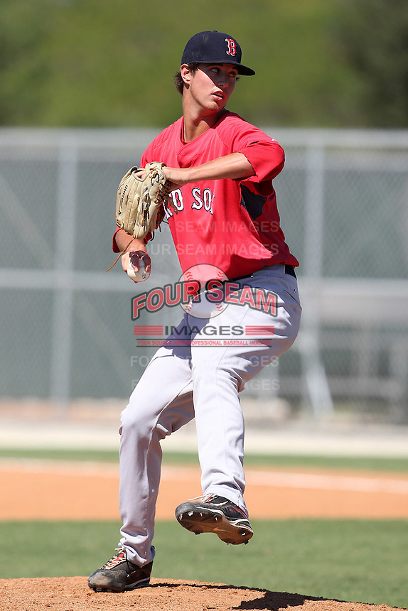 Boston Red Sox pitcher Renny Parthemore #66 during an intrasquad Instructional League game at Red Sox Minor League Training Complex in Fort Myers, Florida;  October 4, 2011.  (Mike Janes/Four Seam Images)