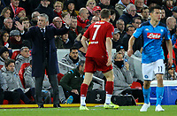 Napoli manager Carlo Ancelotti shouts instructions to his team from the technical area<br /> <br /> Photographer Alex Dodd/CameraSport<br /> <br /> UEFA Champions League Group E - Liverpool v Napoli - Wednesday 27th November 2019 - Anfield - Liverpool<br />  <br /> World Copyright © 2018 CameraSport. All rights reserved. 43 Linden Ave. Countesthorpe. Leicester. England. LE8 5PG - Tel: +44 (0) 116 277 4147 - admin@camerasport.com - www.camerasport.com