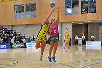 Central Manawa&rsquo;s Renee Savai&rsquo;inaea and Southern Blast&rsquo;s Julia Law in action during the Beko Netball League - Central Manawa v Southern Blast at ASB Sports Centre, Wellington, New Zealand on Sunday 12 May 2019. <br /> Photo by Masanori Udagawa. <br /> www.photowellington.photoshelter.com