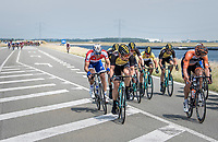 When exposed to the heavy sea winds, Team LottoNL-Jumbo forces the peloton to break into echelons. At this point they're checking with each other whether they'll continue forcing this pace as they've still got +100km to cover at this point.<br /> Also Marcel Kittel (DEU/QuickStep Floors) made this first break.<br /> <br /> Ster ZLM Tour (2.1)<br /> Stage 2: Tholen &gt; Hoogerheide (186.8km)