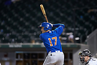 Jason Coats (17) of the Durham Bulls at bat against the Charlotte Knights at BB&T BallPark on July 31, 2019 in Charlotte, North Carolina. The Knights defeated the Bulls 9-6. (Brian Westerholt/Four Seam Images)