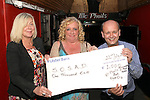 Sandra Gough with Peter and Valerie Moroney with the cheque from McPhails, Earth and Stockwell Artisan Foods at the SOSAD BBQ Night in McPhails...(Photo credit should read Jenny Matthews www.newsfile.ie)....This Picture has been sent you under the conditions enclosed by:.Newsfile Ltd..The Studio,.Millmount Abbey,.Drogheda,.Co Meath..Ireland..Tel: +353(0)41-9871240.Fax: +353(0)41-9871260.GSM: +353(0)86-2500958.email: pictures@newsfile.ie.www.newsfile.ie.