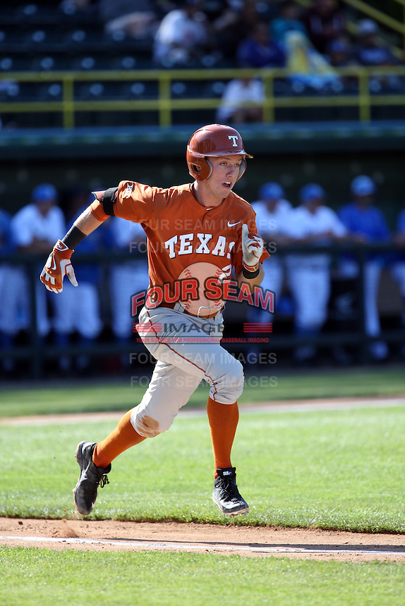Kody Clemens (2) of the Texas Longhorns runs to first base during a game against the UCLA Bruins at Jackie Robinson Stadium on March 12, 2016 in Los Angeles, California. UCLA defeated Texas, 5-4. (Larry Goren/Four Seam Images)