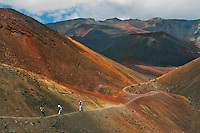 Three male hikers along the colorful orange hues lava trail in the crater of HALEAKALA NATIONAL PARK on Maui in Hawaii USA