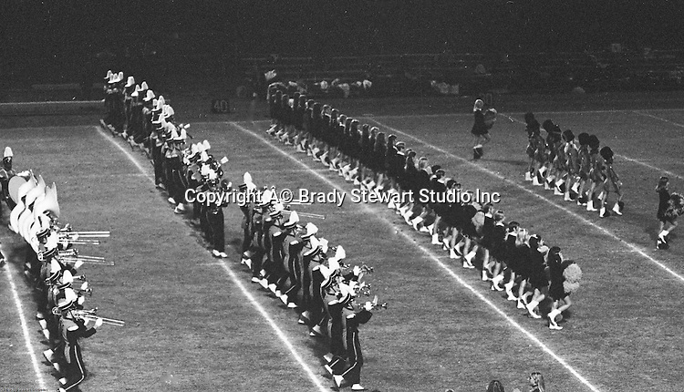 Bethel Park PA:  Bethel Park Band and Bethettes performing during Senior Night at Bethel Park High School Football field - 1969