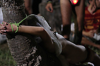 PORTO ALEGRE, RS, 30.01.2014 - BANHO PELADO NA REDENCAO - Naturistas realizam ato Banho Pelado na Redencao em Porto Alegre na noite desta quinta-feira, 30. (Foto: Pedro H. Tesch / Brazil Photo Press).