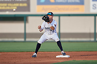 Lakeland Flying Tigers second baseman Kody Clemens (8) waits for a throw during a Florida State League game against the St. Lucie Mets on April 24, 2019 at Publix Field at Joker Marchant Stadium in Lakeland, Florida.  Lakeland defeated St. Lucie 10-4.  (Mike Janes/Four Seam Images)