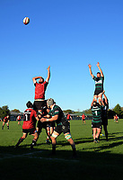 Action from the Wairarapa Bush premier club rugby match between Carterton and Martinborough at Carterton RFC in Carterton, New Zealand on Saturday, 4 May 2019. Photo: Dave Lintott / lintottphoto.co.nz