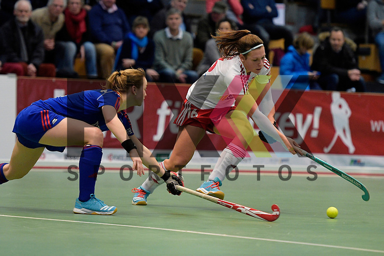 GER - Luebeck, Germany, February 06: During the 1. Bundesliga Damen indoor hockey semi final match at the Final 4 between Rot-Weiss Koeln (white) and Mannheimer HC (blue) on February 6, 2016 at Hansehalle Luebeck in Luebeck, Germany. Final score 1-2 (HT 0-2).  ?Sophia Willig #9 of Mannheimer HC, Rebecca Grote #16 of Rot-Weiss Koeln<br /> <br /> Foto &copy; PIX-Sportfotos *** Foto ist honorarpflichtig! *** Auf Anfrage in hoeherer Qualitaet/Aufloesung. Belegexemplar erbeten. Veroeffentlichung ausschliesslich fuer journalistisch-publizistische Zwecke. For editorial use only.
