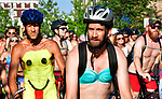 Bike riders at the start of the 11th Annual World Naked Bike Ride which was held Saturday in The Grove. Hundreds of participants wore nothing or next to nothing before, during and after the bicycle ride. There was also a costume contest, a drag show, music, food, vendor booths, and dancing.   Photo by Tim Vizer
