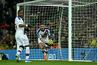 1st January 2020; Carrow Road, Norwich, Norfolk, England, English Premier League Football, Norwich versus Crystal Palace; Connor Wickham of Crystal Palace turns out of the netting as he scores for 1-1 in the 85th minute - Strictly Editorial Use Only. No use with unauthorized audio, video, data, fixture lists, club/league logos or 'live' services. Online in-match use limited to 120 images, no video emulation. No use in betting, games or single club/league/player publications