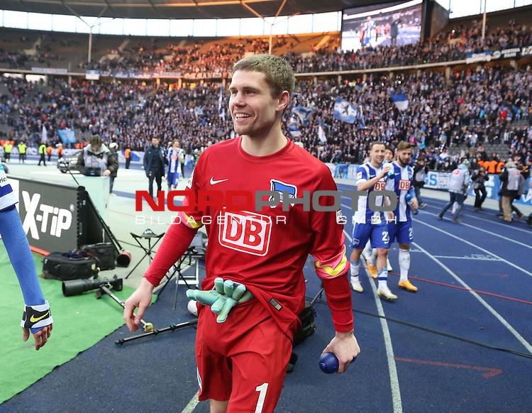 28.02.2015, OLympiastadion, Berlin, GER, 1.FBL, Hertha BSC vs. FC Augsburg , im Bild Thomas Kraft (Hertha BSC Berlin)<br /> <br />               <br /> Foto &copy; nordphoto /  Engler
