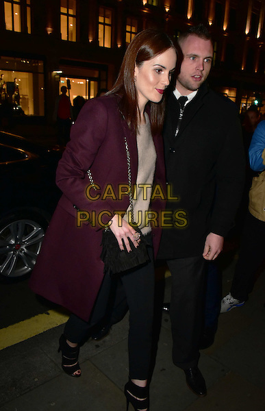 Michelle Dockery arrives for the premiere of the Burberry festive film at Burberry on November 3, 2015 in London, England.<br /> CAP/JOR<br /> &copy;JOR/Capital Pictures