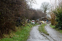 Pictured: The lne leading up to the destroyed property in Lammas village. Friday 05 January 2017<br /> Re: A house that was featured in Channel 4 programme Grand Designs has been destroyed in a fire. The house, owned by Simon and Jasmine Dale is located at the Lammas Eco village near Glandwr in west Wales, UK.
