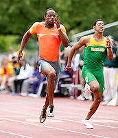 Doc Patton of Nike ran 10.19sec. in the heats of the 100m dash at the Michael Johnson Classic held at Hart-Patterson Track & Field Complex, Baylor University, Waco, Texas on Saturday, April 18, 2009. Photo by Errol Anderson,The Sporting Image.net.