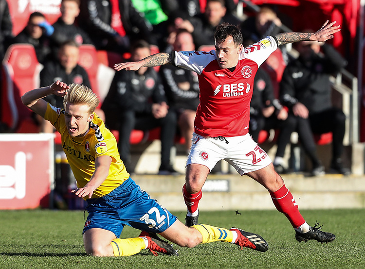 Fleetwood Town's Ross Wallace competing with Charlton Athletic's George Lapslie  <br /> <br /> Photographer Andrew Kearns/CameraSport<br /> <br /> The EFL Sky Bet League One - Fleetwood Town v Charlton Athletic - Saturday 2nd February 2019 - Highbury Stadium - Fleetwood<br /> <br /> World Copyright © 2019 CameraSport. All rights reserved. 43 Linden Ave. Countesthorpe. Leicester. England. LE8 5PG - Tel: +44 (0) 116 277 4147 - admin@camerasport.com - www.camerasport.com