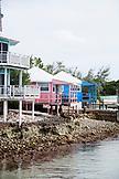 EXUMA, Bahamas. Houses along the shore in Staniel Cay.