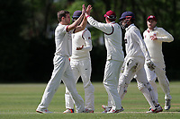N Winter of Brentwood celebrates with his team mates after taking the wicket of H Kumar during Brentwood CC vs Ilford CC, Shepherd Neame Essex League Cricket at The Old County Ground on 8th June 2019