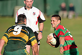 Waiuku halfback A. Murphy is all smiles as he is met by his opposite K. Farrell. Counties Manukau Premier Club Rugby, Pukekohe v Waiuku  played at the Colin Lawrie field, on the 3rd of 2006.Pukekohe won 36 - 14