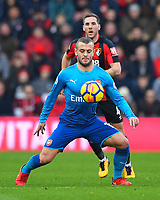 Jack Wilshere of Arsenal holds the ball up from Dan Gosling of AFC Bournemouth during AFC Bournemouth vs Arsenal, Premier League Football at the Vitality Stadium on 14th January 2018