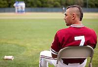 STANFORD, CA - April 23, 2011: Tyler Gaffney of Stanford baseball waits near the on deck circle during a UCLA mound visit during Stanford's game against UCLA at Sunken Diamond. Stanford won 5-4.