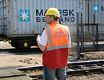 Worker at Rail freight terminal, Port of Felixstowe, Suffolk