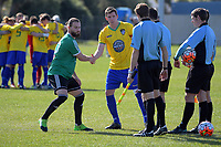 The captains shake hands before the Chatham Cup football semifinal between Cashmere Technical and Onehunga Sports at Garrick in Christchurch, New Zealand on Sunday, 27 August 2017. Photo: Dave Lintott / lintottphoto.co.nz