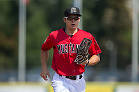 Billings Mustangs center fielder Stuart Fairchild (43) jogs off the field between innings of the game against the Missoula Osprey at Dehler Park on August 20, 2017 in Billings, Montana.  The Osprey defeated the Mustangs 6-4.  (Brian Westerholt/Four Seam Images)