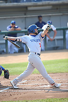 Nate Mondou (3) of the Stockton Ports bats against the Rancho Cucamonga Quakes at Loan Mart Field on July 16, 2017 in Rancho Cucamonga, California. Rancho Cucamonga defeated Stockton 9-1. (Larry Goren/Four Seam Images)