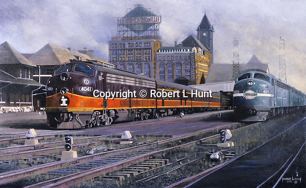 "Illinois Central and New York Central diesel passenger trains with F unit diesels sitting side by side at the Chicago railroad terminal circa 1960. Oil on canvas, 18"" x 30""."