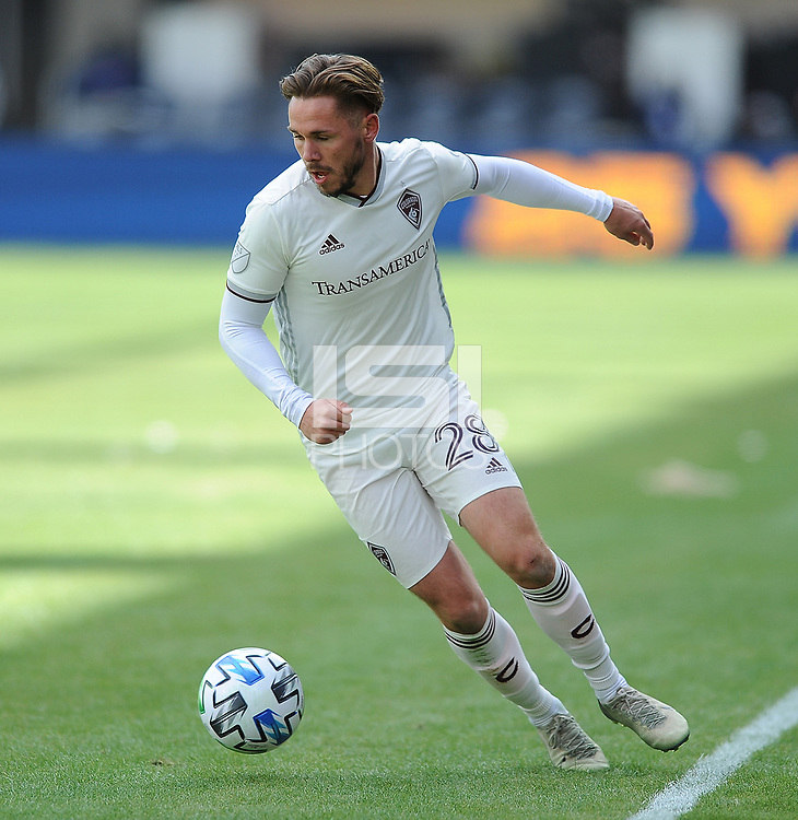 WASHINTON, DC - FEBRUARY 29: Washington, D.C. - February 29, 2020: Sam Nicholson #28 of the Colorado Rapids moves the ball during a game between D.C. United and the Colorado Rapids.  The Colorado Rapids defeated D.C. United 2-1 during their Major League Soccer (MLS)  match at Audi Field during a game between Colorado Rapids and D.C. United at Audi FIeld on February 29, 2020 in Washinton, DC.