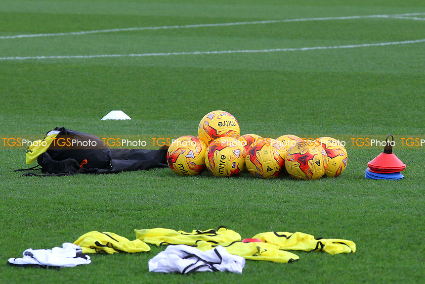 Balls and bibs on the pitch ahead of kick-off during Stevenage vs Accrington Stanley, Sky Bet League 2 Football at the Lamex Stadium, Stevenage, England on 19/12/2015