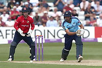 Jack Leaning in batting action for Yorkshire as Adam Wheater looks on from behind the stumps during Essex Eagles vs Yorkshire Vikings, Royal London One-Day Cup Play-Off Cricket at The Cloudfm County Ground on 14th June 2018
